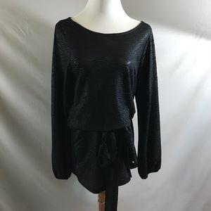 Alexis black textured belted dress